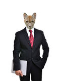 Business man with animal head isolated Royalty Free Stock Image