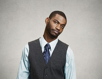 Business man with annoyed face expression royalty free stock photo