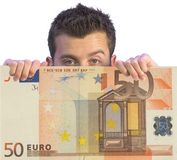 Business man appearing on euro note Royalty Free Stock Photography