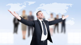 Business man with arms outstretched or outspread Royalty Free Stock Photo