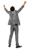Business man with arms raised. Excited business man with arms raised in success - Isolated on white Stock Images