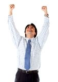 Business man with arms up Stock Images