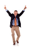 Business man with arms up Stock Photos