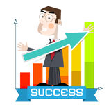 Business Man with Arrow and Success Graph. Vector Stock Photography