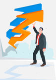 Business Man Arrow Up Financial Success Concept. Flat Vector Illustration Stock Image