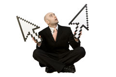 Business Man with Arrows Stock Photo