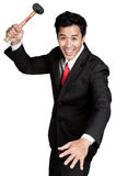 Business man asian hold hammer in suit Stock Images