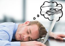 Business man asleep at laptop dreaming of holiday against blurry grey office. Digital composite of Business man asleep at laptop dreaming of holiday against Stock Photography