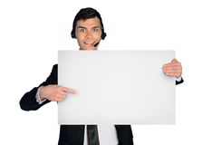Business man assistance man with empty banner Stock Photos