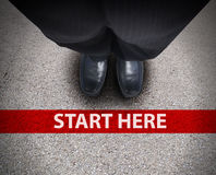 Free Business Man At Starting Line Road Path Royalty Free Stock Photos - 28146298