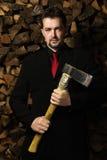 Business man with the axe Stock Photos
