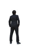 Business man from the back looking at something. Isolated on white Royalty Free Stock Images