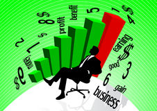 Business man background. Business man with 3d graph see in earnings Stock Image