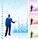 Business man on background with financial charts Stock Photos