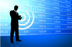 Business man on background with stock market data Stock Image