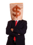Business man bag on head with dollar sign Stock Image