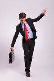 Business man balancing on rope Royalty Free Stock Images