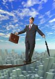 BUSINESS MAN BALANCING ON ROPE. Businessman balancing on rope over a big city Stock Photography