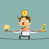 Business man balancing on the wire with ideas money and time. cartoon character. Royalty Free Stock Images
