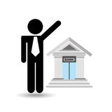 Business man bank building icon graphic Stock Photography
