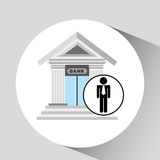 Business man bank building icon graphic. Vector illustration eps 10 Stock Image
