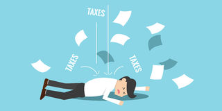 Business man bankrupt by taxes. Business man bankrupt and falling down because of taxes Stock Photo
