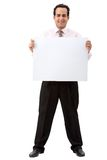 Business man with a banner Royalty Free Stock Photo