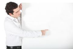 Business man with a banner Stock Photography