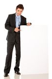 Business man with banner Royalty Free Stock Images