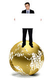 Business man with a banner on a globe Stock Photos