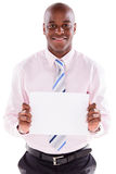 Business man with a banner Stock Image
