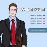 Business man banner, vector background with managing standing front side, cartoon multicolor portrait three quarters, painted huma Royalty Free Stock Photos