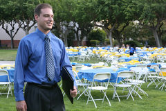 Business Man at Banquet. A business man attending a banquet outside Royalty Free Stock Photos