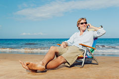 Business Man on the Beach Stock Photo