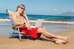 Business Man on the Beach Royalty Free Stock Photos