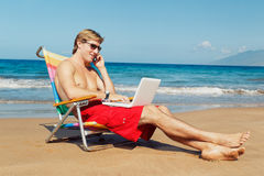 Business Man on the Beach Stock Photography