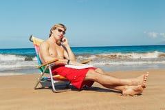 Business Man on the Beach Stock Photos