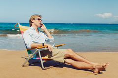 Business Man on the Beach Royalty Free Stock Photography