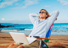 Business man on the beach. Young Business Man Relaxing on Tropical Beach Royalty Free Stock Photo