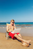 Business Man on the Beach in Hawaii Royalty Free Stock Photo
