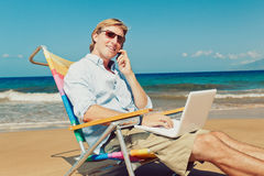 Business Man on the Beach in Hawaii Royalty Free Stock Photography