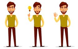 Business man with beard, cartoon character set. Young handsome businessman in smart casual clothes angry, having an idea and showing ok sign. Vector character royalty free illustration