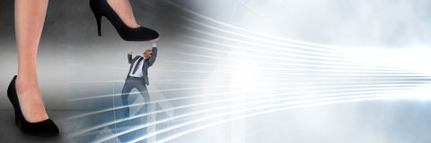 Business man being stepped on by giant feet and white interface transition. Digital composite of Business man being stepped on by giant feet and white interface stock images