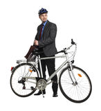 Business man and bicycle Stock Photos