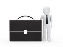 Business man big briefcase. 3d business man stand next big briefcase Stock Photos
