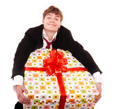 Business man with big gift box. Isolated Royalty Free Stock Photo
