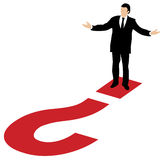 Business man and big red question mark. Well dressed business man standing on a big red question mark with his arms arms out to the sides Stock Images