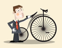 Business Man and Bike Vector Stock Image