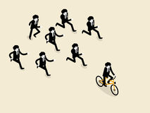 Business man biking bicycle is ahead of the group of business man those are running follow Stock Photography