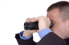 Business man with binoculars. Business man searching for something over white Stock Image